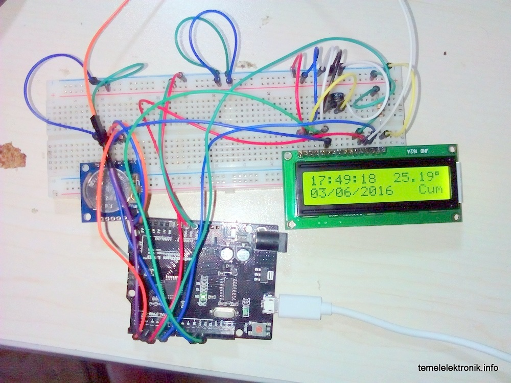 Arduino 2x16 LCD Ekranlı RTC Saat ve Termometre